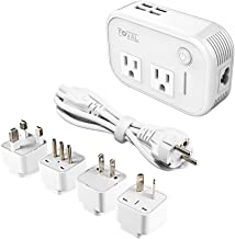 Foval International Travel Adapter Power Step Down 220v to 110v Voltage Converter with 4-port USB...