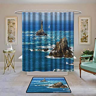 Customized Bathroom Shower Curtain Lighthouse,Daytime Lighthouse Wavy Ocean View and Clear Sky Rocky Islands Sailboat, Blue Gray White,Waterproof Polyester Fabric Bath Curtain Design 47