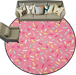 Pink and White,Outdoor Rugs Abstract Pattern of Colorful Donut Sprinkles Sweet Tasty Food Bakery Theme D36 Soft Carpet Floor Mat Home Decor