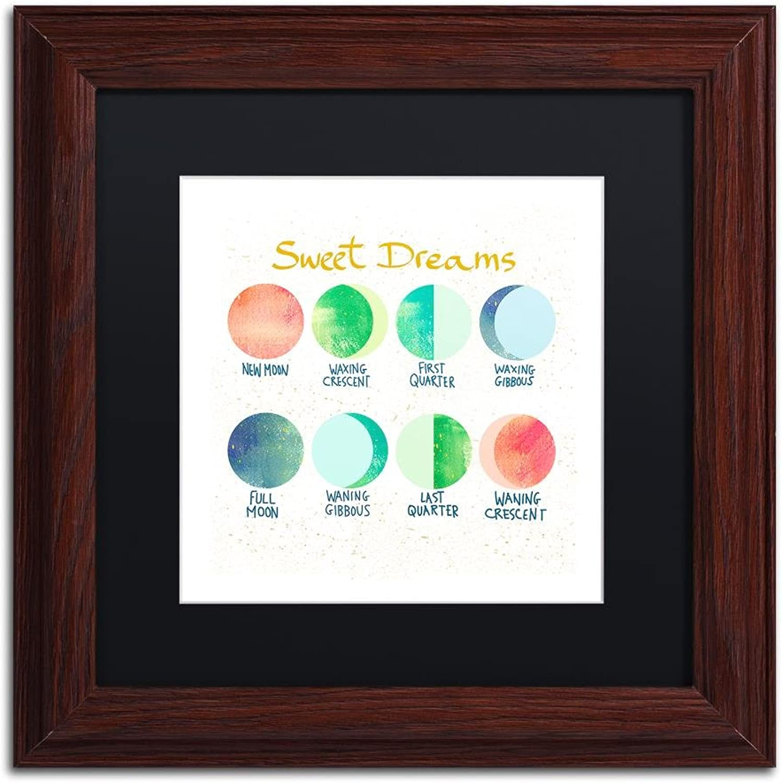 Trademark Fine Art Sweet Dreams by Lisa Powell brown Wall Art, Black Matte, Wood Frame 11x11