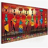 Cuadros Pinturas de Arte Tribal Mujeres africanas Bailando Cuadro de Pintura al óleo para Sala de Estar Impresión de Lienzo Decoración del hogar 40x120cm Sin Marco