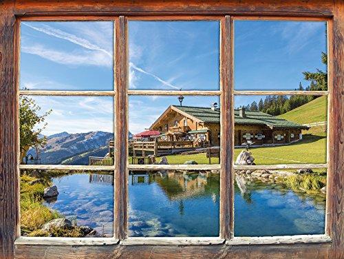 Stil.Zeit Möbel Schönes Haus in den Alpen Fenster 3D-Wandsticker Format: 92x62cm Wanddekoration 3D-Wandaufkleber Wandtattoo