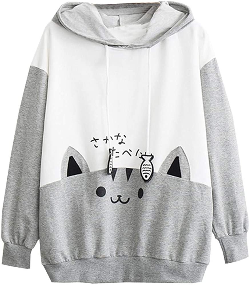 Toeava Cute Cat Hoodies Sweatshirt for Women,Teen Girls Splice Long Sleeve Pullover Tops Jumper Shirts Tunic Blouse
