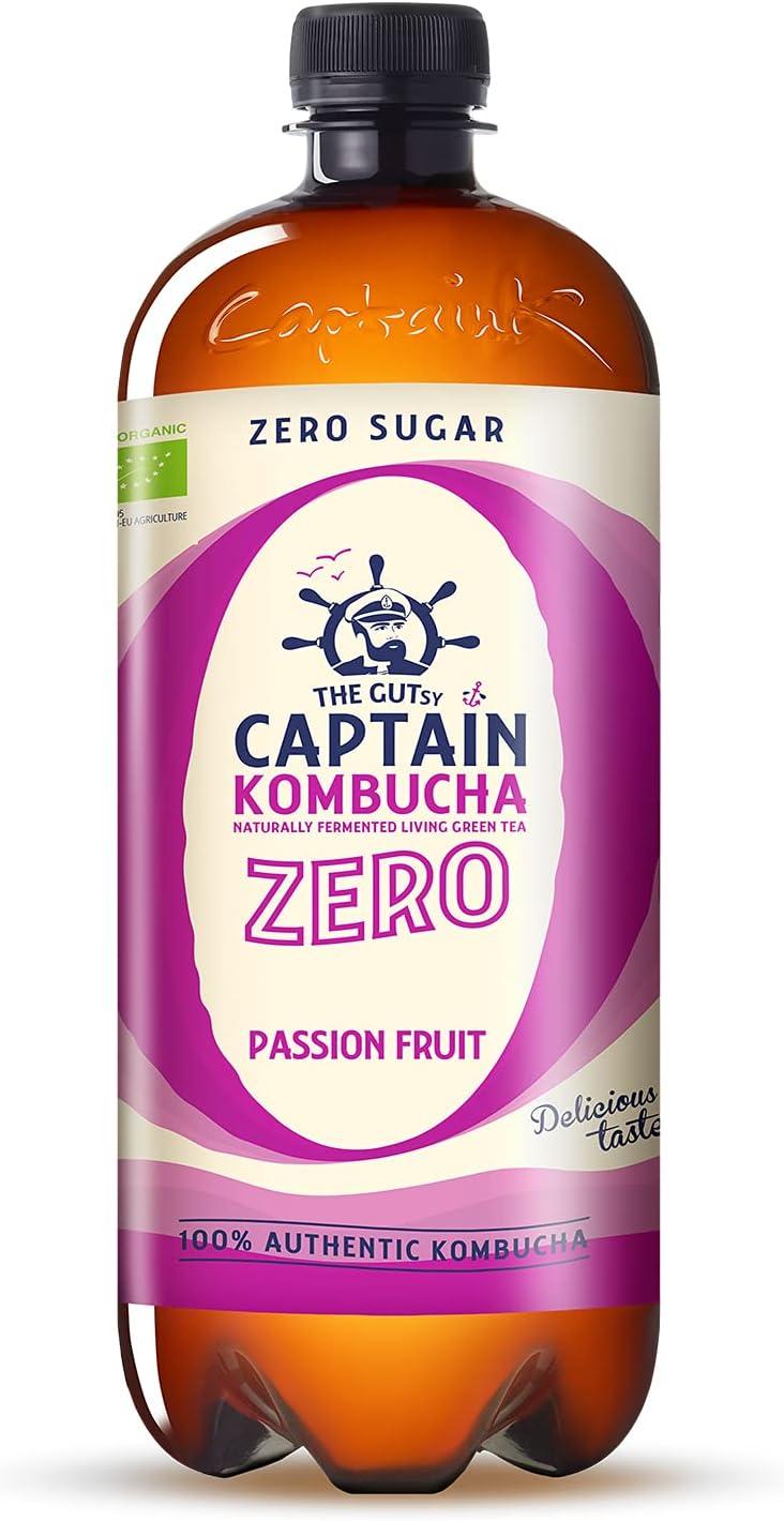 Captain Kombucha ZERO - Zero Sugar, Zero Calories - Bebida Probiótica Naturalmente Fermentada, Sin Pasteurizar, Vegan - 6 x 1000ml (Passion Fruit)