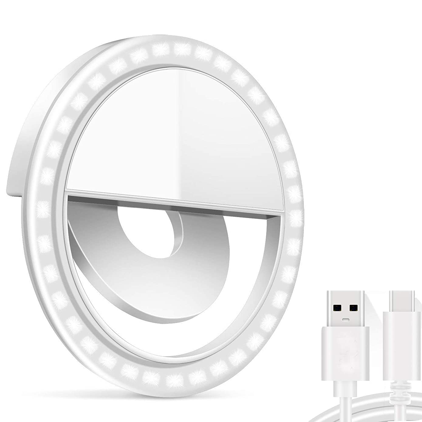 Rechargeable Selfie Ring Light - Tekcast 36 LED Clip-on LED Camera Light, Round Shape LED Fill-Light for Phone Pad Galaxy, Other Smart Photography Phones, White
