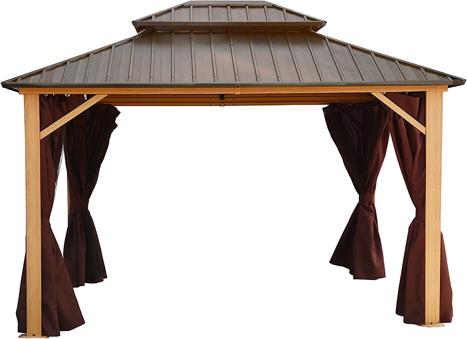 LUCKYBERRY 10' X Ranking TOP12 Jacksonville Mall 12' Outdoor Galvanized Steel Roof Doubl Hardtop