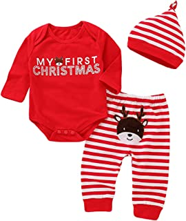 OneCut 3Pcs Christmas Costumes Elk Outfits Set Newborn Baby Boys Girls Long Sleeve Clothes My First Christmas