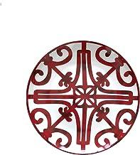 JSJJAHN Assiette de Diner Plaque en céramique Peinte à la Main Art Rouge Artistique créatif Ronde Style Table de Vaisselle...