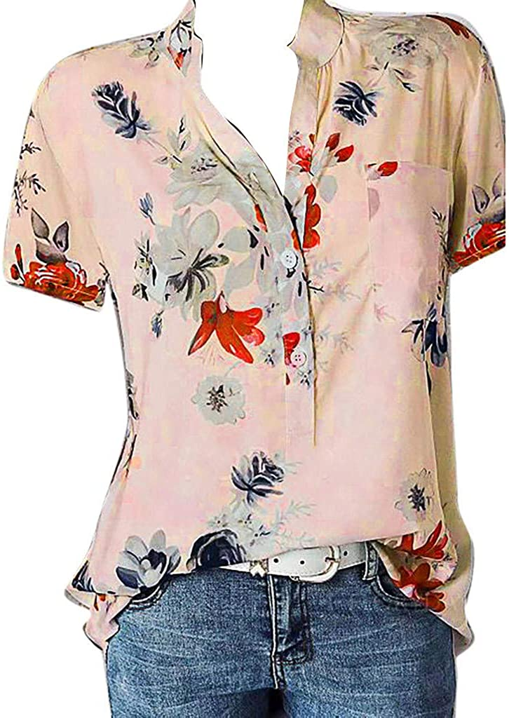 AODONG Womens Tops and Blouses,T Shirt for Womens Short Sleeve Floral Printed Irregular Hem Blouse Loose Tunic