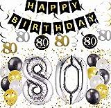 Ensemble de 18 décorations de fête d'anniversaire JeVenis 80e cheers à 80 ans bannière 80e anniversaire bannière 80 fournitures de fête d'anniversaire