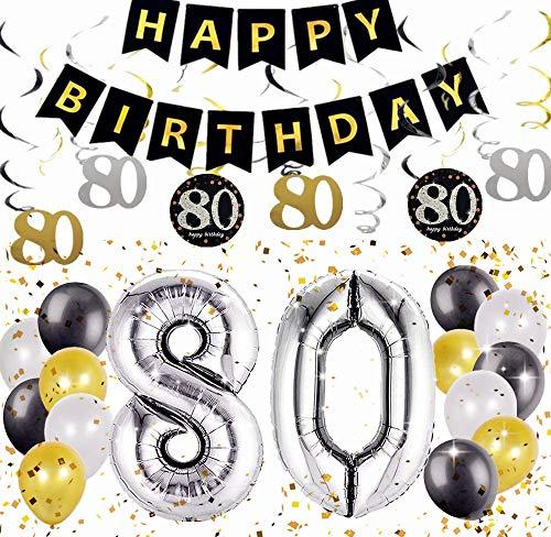 Satz von 18 JeVenis 80. Geburtstagsparty Dekorationen Prost auf 80 Jahre Banner 80. Geburtstag Banner 80 Birthday Party Supplies