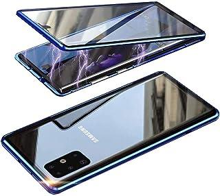 جراب Aookay متوافق مع Samsung Galaxy S21 Ultra 5G، مع واقي شاشة مدمج شفاف مزدوج الجوانب غطاء زجاجي مقسى (S21 Ultra، أزرق)