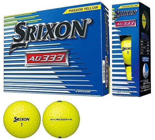 DUNLOP (Dunlop) Golfball SRIXON AD333 2018, Modelljahr 1 Dutzend (12 Stück) Passion Yellow