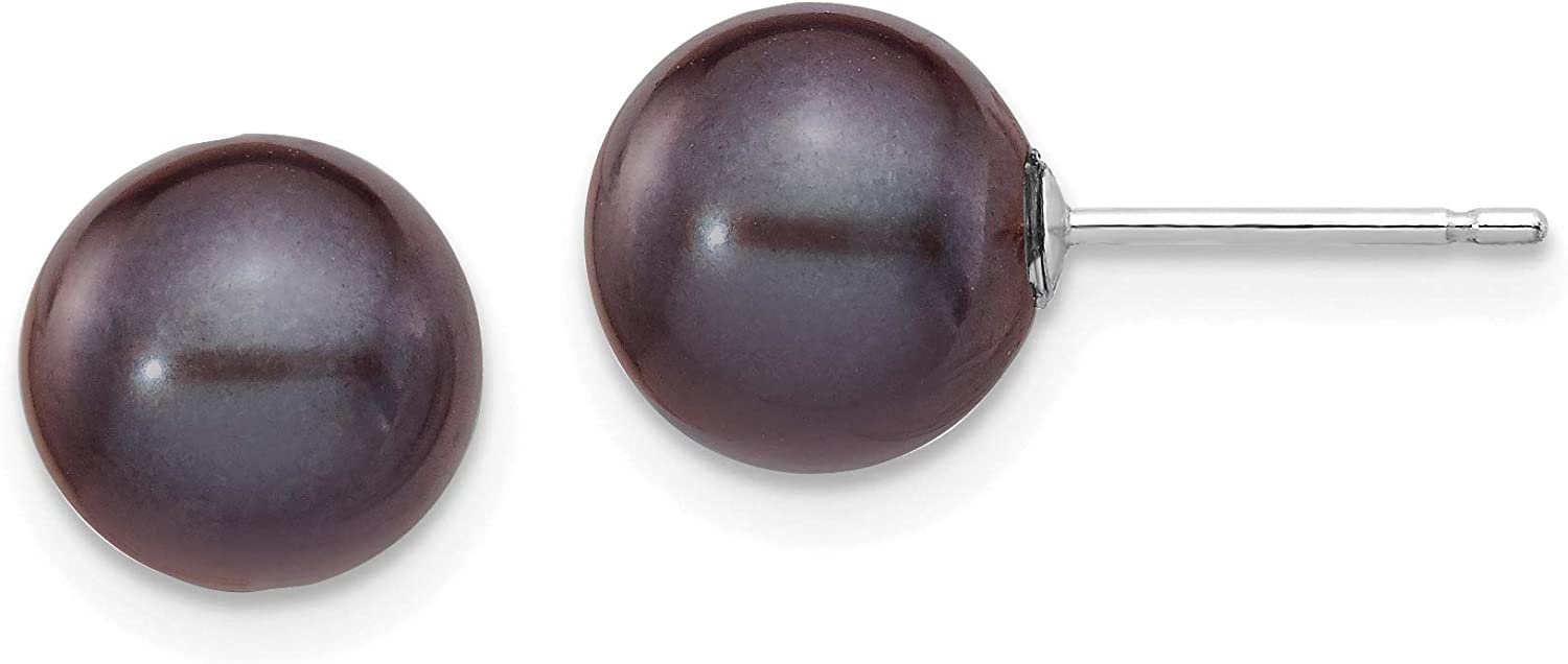 Black Round Freshwater Cultured Pearl Post Earrings in Real 14k White Gold
