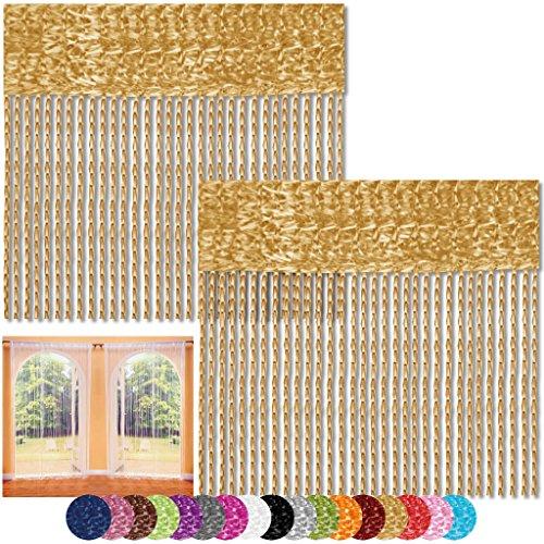 Bestlivings Fadenvorhang 2er Pack Gardine Raumteiler, Auswahl: 140x240 Gold - goldbeige