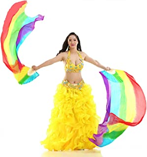 DEMON BABY 1 Pair Turkish High-Grade Silk Belly Dance Bamboo Handle Long Fans Veils Tie-Dyed Dance Hand Fans Props(Rainbow Color;70.2