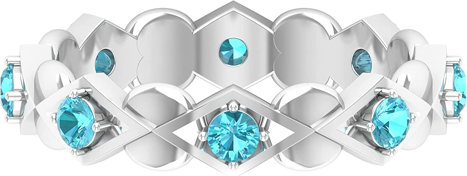 3/4 CT Swiss Blue Topaz Art Deco Gold Band Ring (AAA Quality),14K White Gold,Swiss Blue Topaz,Size:US 5.50