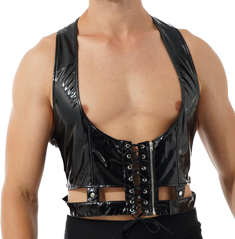 QinCiao Men's Faux Leather Punk Rave Gothic Harness Lingerie Vest Top Corset