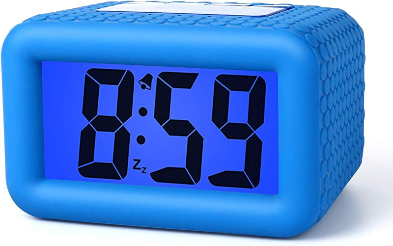 Plumeet Digital Alarm Clock With Snooze And Nightlight Large LCD Display Travel Alarm Clocks Ascending Sound Alarm And Handheld Sized Good For Kids Blue