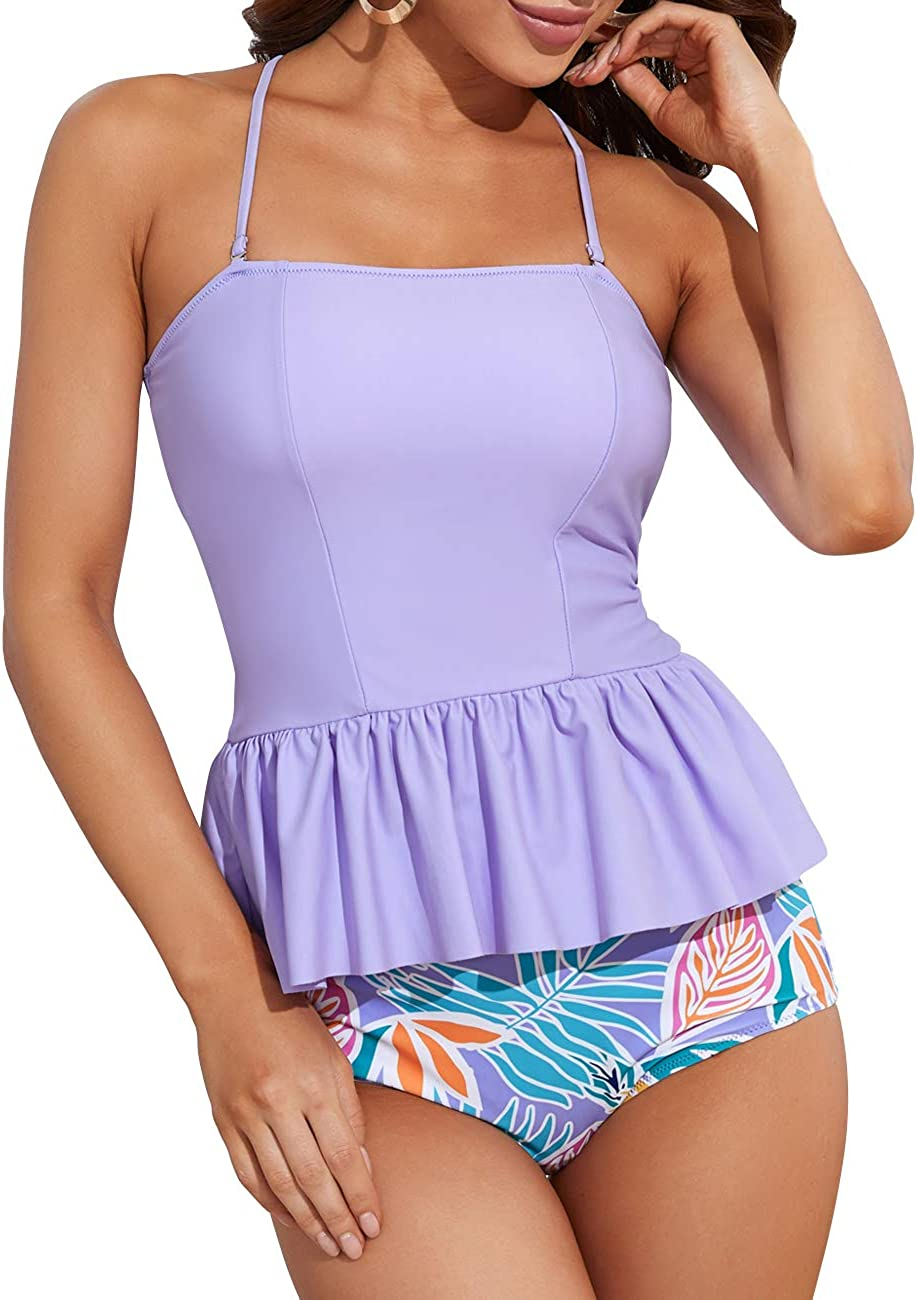Womens Flounce High Waisted Swimsuit Tops Detroit Mall Ranking TOP16 Bathing Crop Su Sports