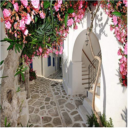 『壁の壁画 3D地中海風ストリートタウン都市景観壁壁画壁紙リビングルームテレビソファ背景壁の装飾-280X200CM』のトップ画像