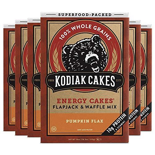 Kodiak Cakes Pumpkin Flax Superfood Protein Pancake Energy Cakes, Flapjack & Waffle Mix, Non-GMO, High Protein Pancake Mix (10 g per serving), 100% Whole Grains, 6 Boxes, 18 Oz / Box