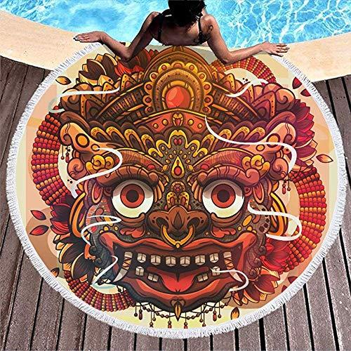 Olie Cam Toalla de Playa Redonda con Estampado de folclore japonés Kirin Yokai con borlas