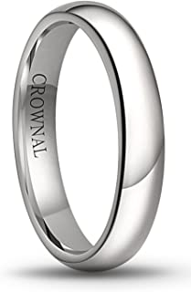1mm 2mm 3mm 4mm 5mm 6mm 8mm White Tungsten Carbide Polished Classic Dome Wedding Ring All Sizes