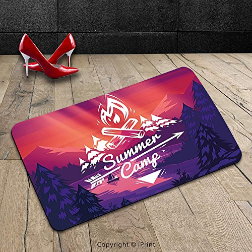 Custom Machine-washable Door Mat Camper Retro Poster Style Summer Camp Typography with Arrow and Fire Figures Graphic Art Purple Pink Indoor/Outdoor Doormat Mat Rug Carpet