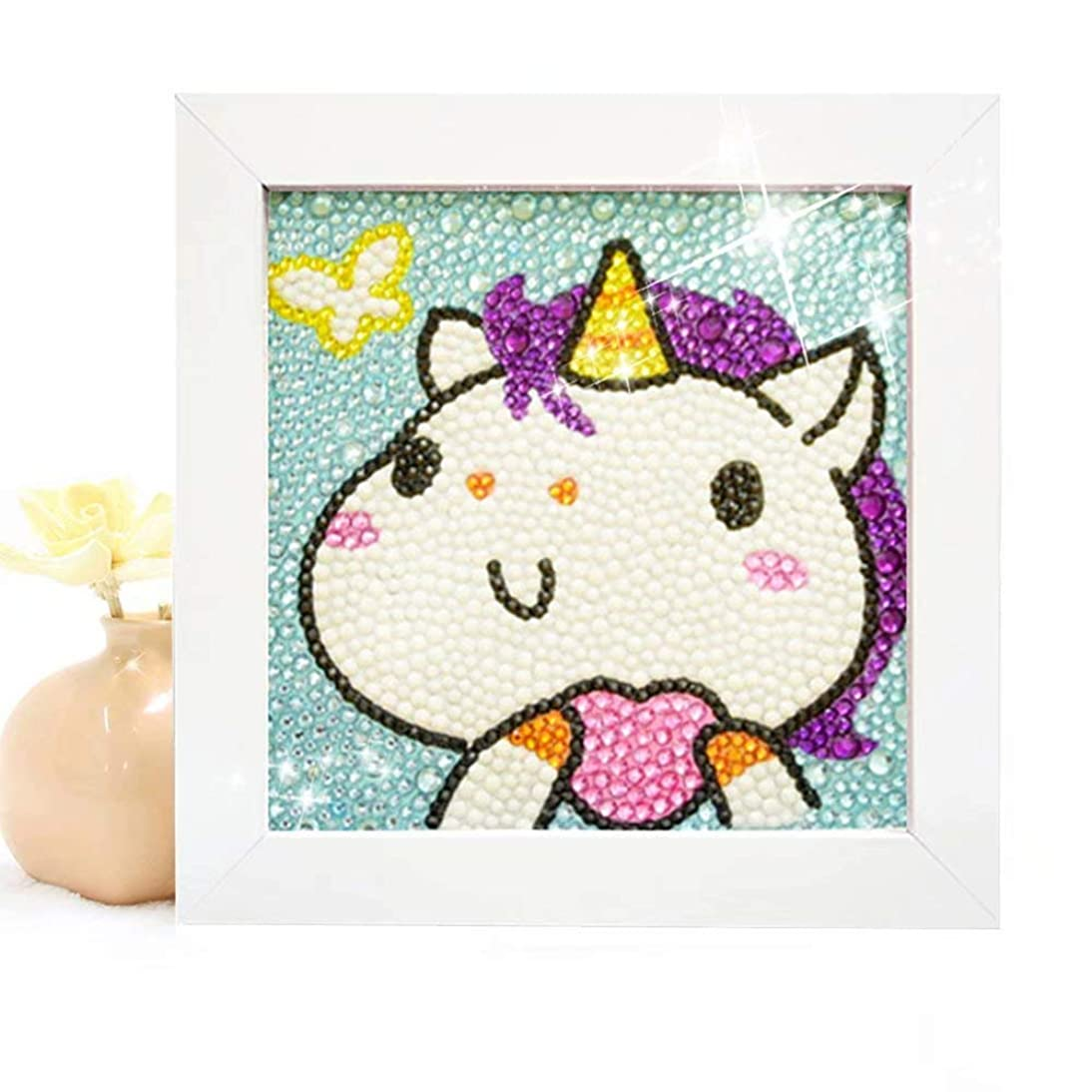 Diamond Painting for Kids Full Drill Painting by Number Kits Arts Crafts Supply Set Rhinestone Mosaic Making for Home Wall Decor Gifts for Christmas Birthday Mothers Day -Include Wooden Frame-Unicorn