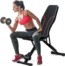 Verstelbare halterbank, duurzame trainingsbank geschikt voor volledige lichaamsoefeningen, opvouwbare krachttrainingsbanke...