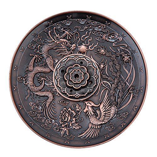 Lazmin 5 agujeros de aleación para quemador de incienso, diseño de dragón, placa de incensario para dormitorio, templo oficina (bronce rojo)