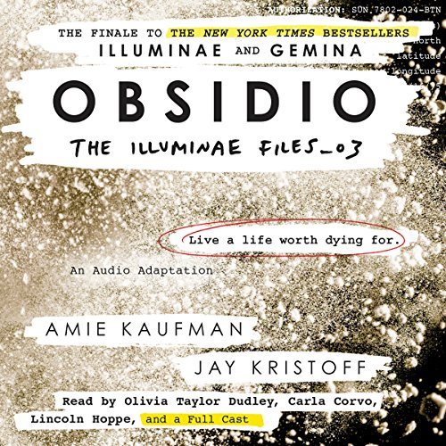 Obsidio     The Illuminae Files, Book 3              By:                                                                                                                                 Amie Kaufman,                                                                                        Jay Kristoff                               Narrated by:                                                                                                                                 Olivia Taylor Dudley,                                                                                        Carla Corvo,                                                                                        full cast                      Length: 13 hrs and 1 min     1,321 ratings     Overall 4.8