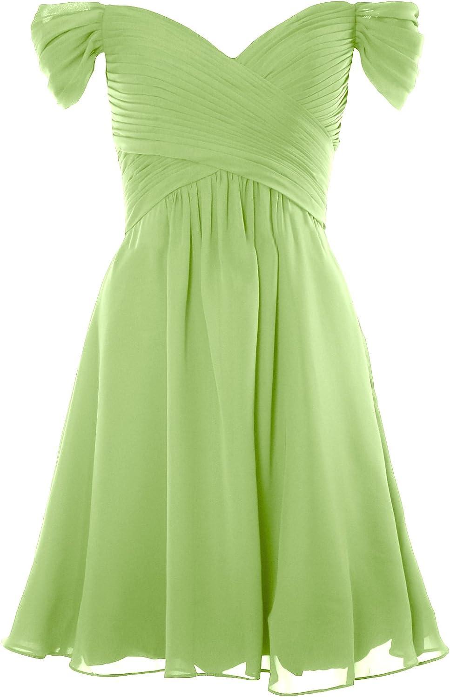 MACloth Women Off Shoulder Short Bridesmaid Dress Wedding Party Formal Gown