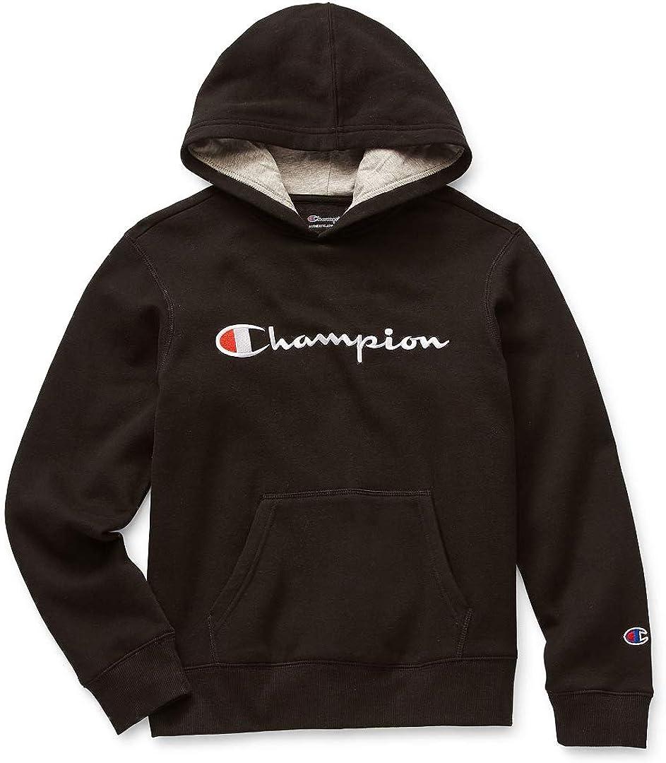 Champion Long-Sleeve Kids/Boy's Embroidered Signature Fleece Hoodie (Black)