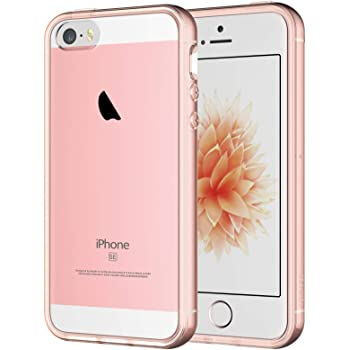 JETech Case for iPhone SE 2016 (Not for 2020), iPhone 5s and iPhone 5, Shockproof Bumper Cover, Anti-Scratch Clear Back, Rose Gold