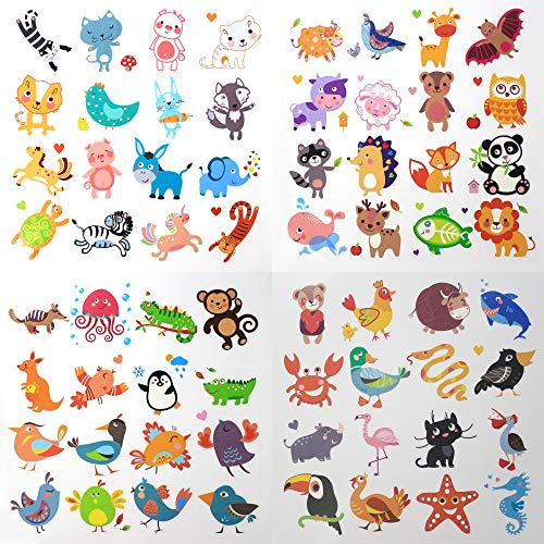 Fiomia Cute Animals Temporary Tattoo cartoon Sticker Face Decal Body Glitter for children kids girls Waterproof Removable 64 Designs 4 Sheets