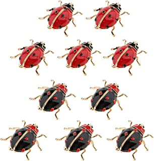 10 Bee Brooches Lapel Red Wings Black /& Red Stripes Enamel Insect Beetle Bug