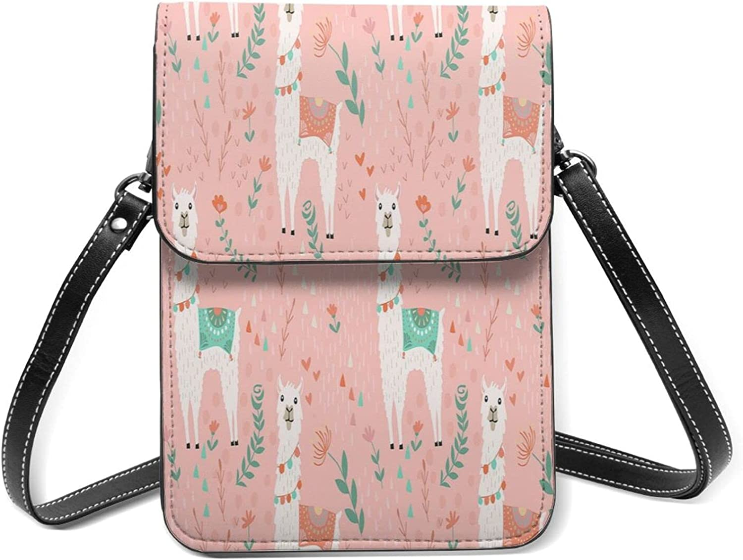 Pink Llama Small Cell Phone Shoulder Fixed price for sale Flip Purse Our shop most popular Lightweight With