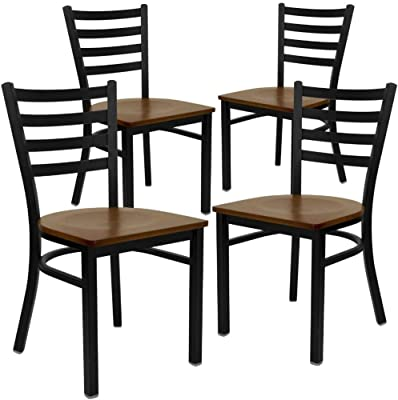 Flash Furniture 4 Pk. HERCULES Series Black Ladder Back Metal Restaurant Chair - Cherry Wood Seat