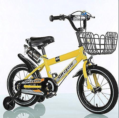 Kinderfürr r 16-Zoll-Kinderfürr r High Carbon Steel Kinderwagen 4-7 Jahre alte M er und Frauen Bikes, Blau Gelb (Farbe   Gelb)