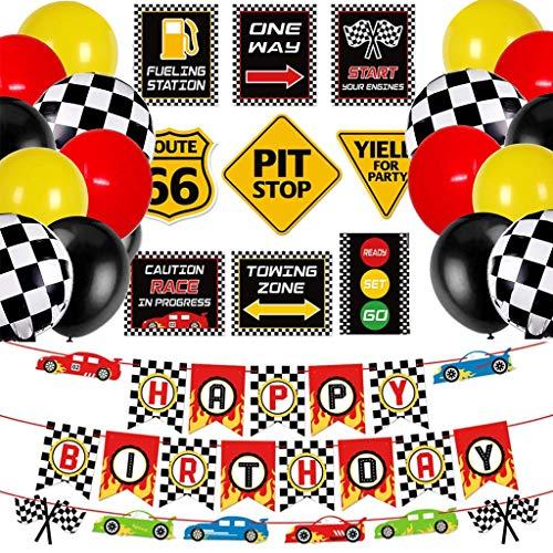 Amycute Rennwagen Geburtstag Party Deko - Karierte Rennwagen Ballon, Happy Birthday Banner , Party Dekorationen für Geburtstag Rennen Motto Party Sportveranstaltungen.