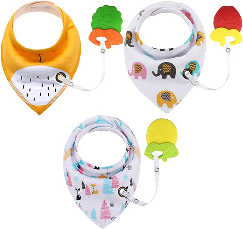 Baby Bandana Bibs With Teether 6 Pack Drool Bibs For Teething Toddler Idea Gift For New Baby 0 6 Months 6 12 Months 1 3 Years New
