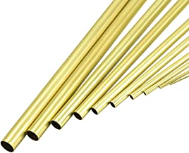 uxcell Brass Tube, 1mm 2mm 3mm 4mm 5mm 6mm 7mm 8mm 9mm 10mm OD x 0.2mm Wall Thickness 300mm Length Seamless Round Pipe Tubing, Pack of 10