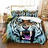 Forest Animal Tiger Juegos de Cama Juego de Funda nórdica de Microfibra de 3 Piezas Uni Funda nórdica de 200x200cm con Cremallera y 2 Fundas de Almohada 50x75cm Juego de sábanas Suave y Confortable