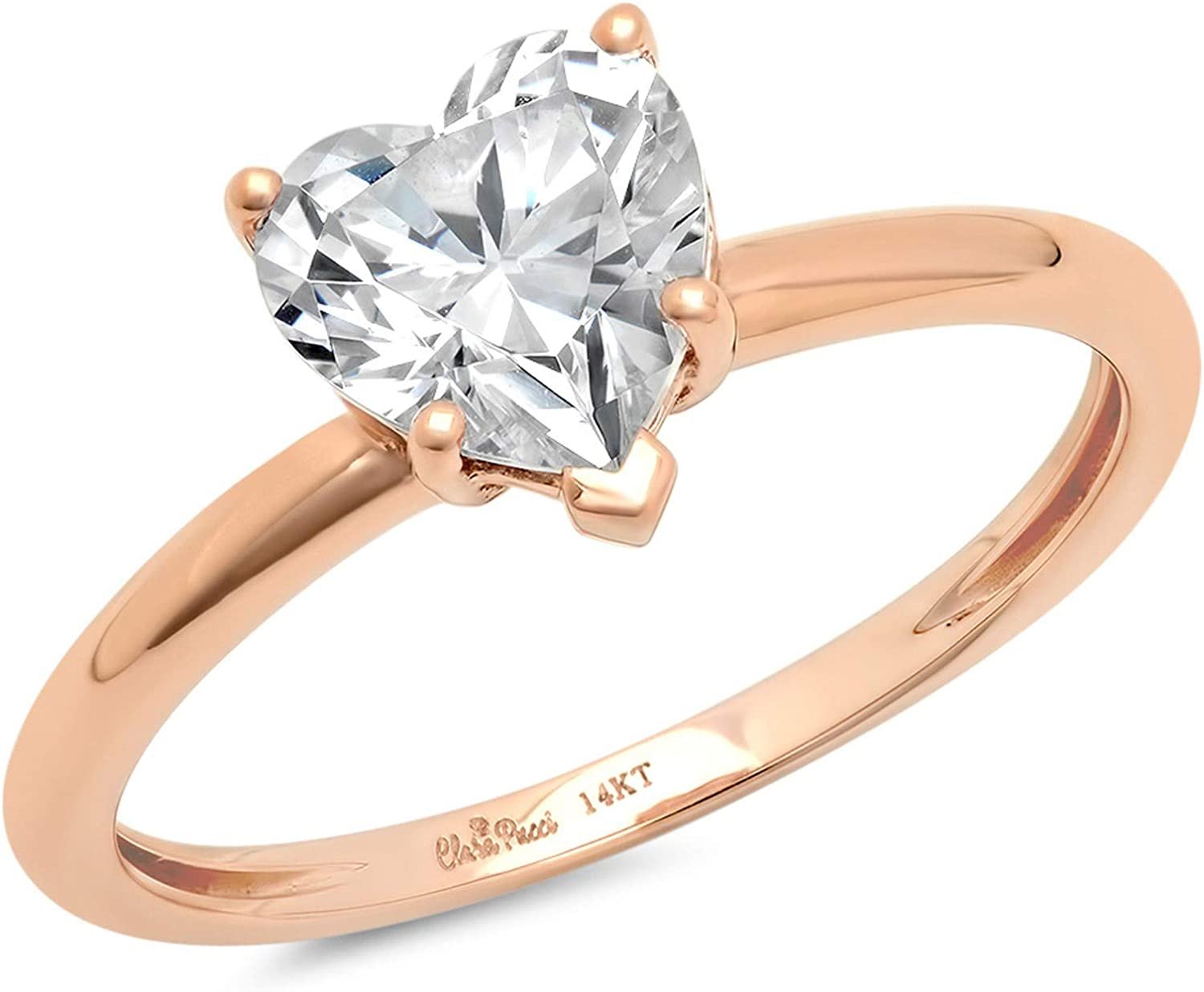 0.9ct Brilliant Heart Cut Solitaire Stunning Genuine Lab Created White Sapphire Ideal VVS1 D 5-Prong Engagement Wedding Bridal Promise Anniversary Ring Solid 14k Rose Gold for Women
