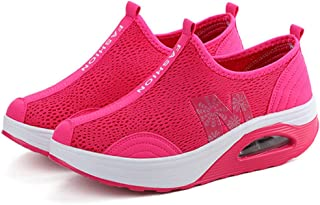 zaragfushfd Ladies Soft Toning Rocker Shoes Womens Mesh Sports Tennis Shoes Slip on Wedges Platform Shoes Lightweight Fitness Walking Shoes
