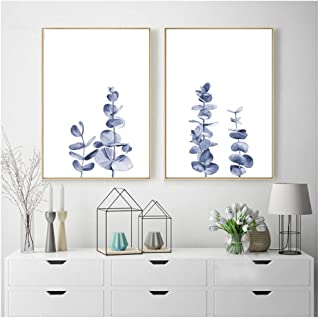 XIANGPEIFBH Blue Eucalyptus Leaves Plant Watercolor Illustration Posters and Prints Picture Botanical Wall Art Canvas Painting Home Decor-50x70cm No Frame
