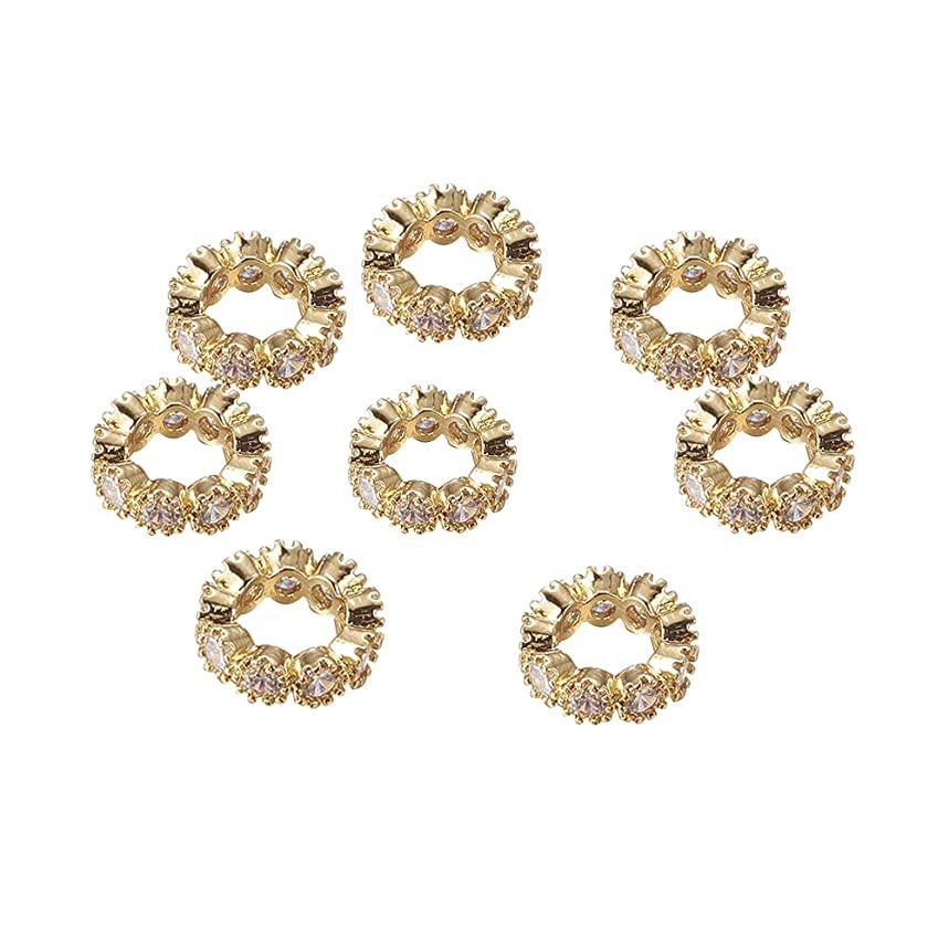 NBEADS 10PCS 10mm Brass Cubic Zirconia Beads Gold Rondelle Spacer Connector Large Hole Charms Beads
