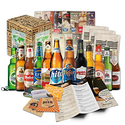 """""""BIERE DER WELT"""" (12 Flaschen) Geschenkidee für Männer INKL. Bierdeckel + Geschenkkarton + Bier-Info. Biergeschenk für Männer oder als ausgefallene Geschenke für den Freund. Perfekte Geschenkidee für Männer"""